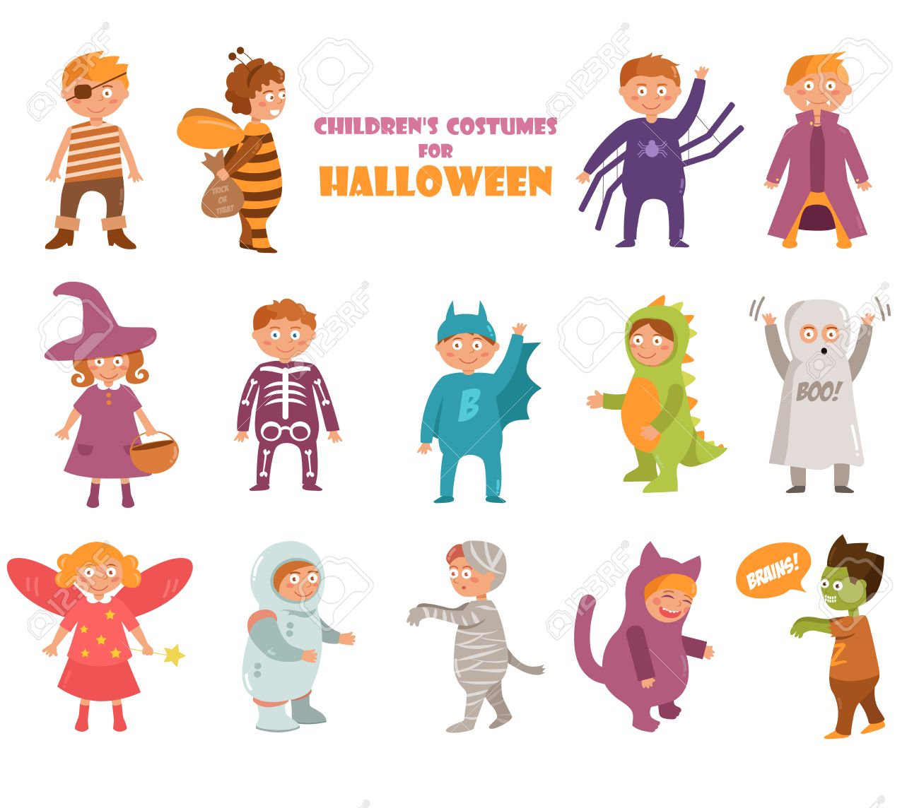 Kids costumes on Halloween  Pirate, bee, spider, vampire, witch,
