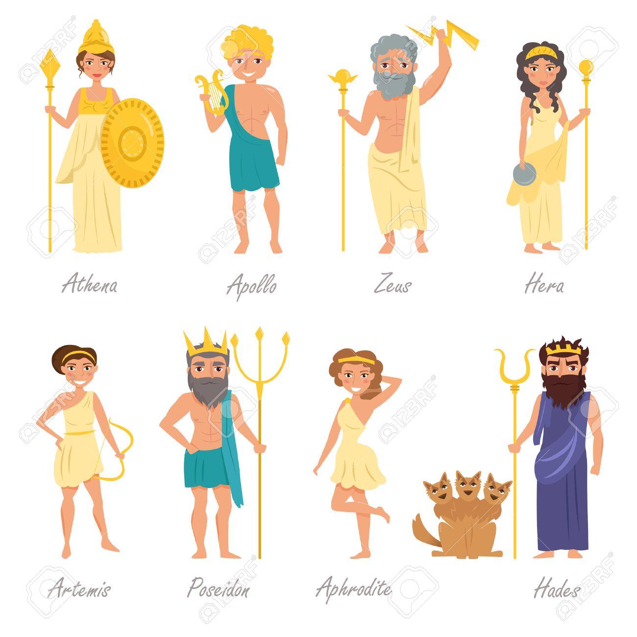 greek gods artemis poseidon aphrodite hades hera apollo rh 123rf com hera pheri cartoon hera cartoon picture