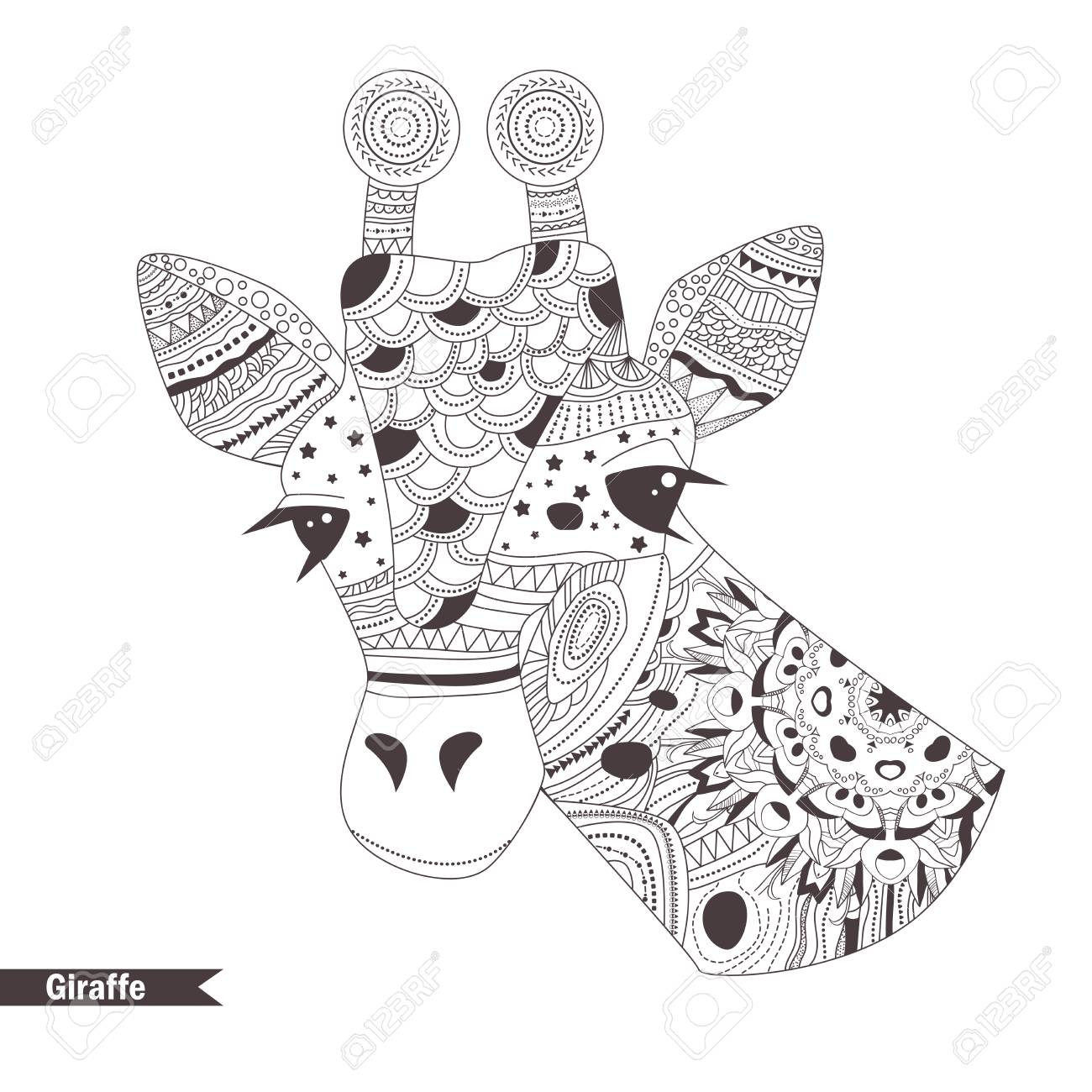 Giraffe. Coloring Book For Adult, Antistress Coloring Pages ...