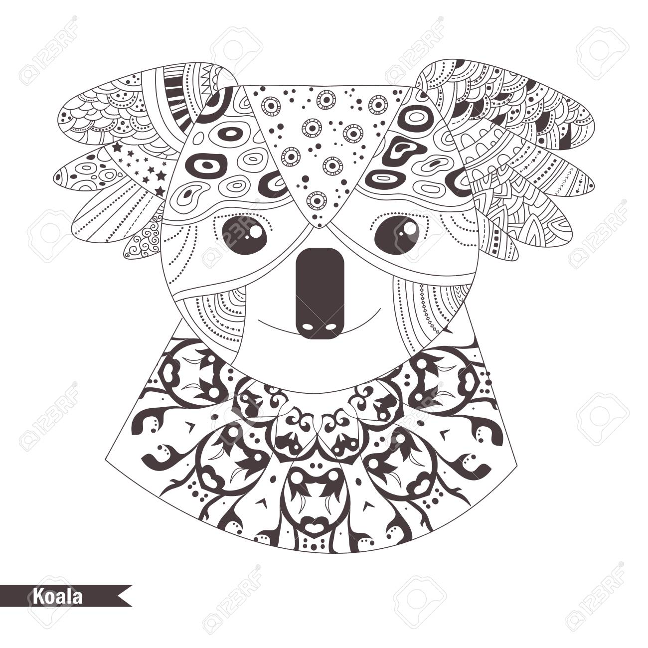 Koala Coloring Book For Adult Antistress Coloring Pages Hand