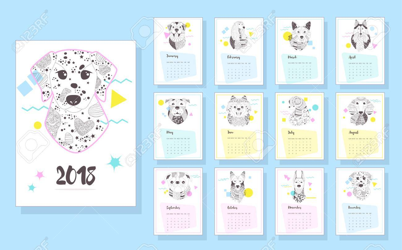 Calendar 2018 Dogs Coloring Book For Adult Antistress Pages Stock Vector
