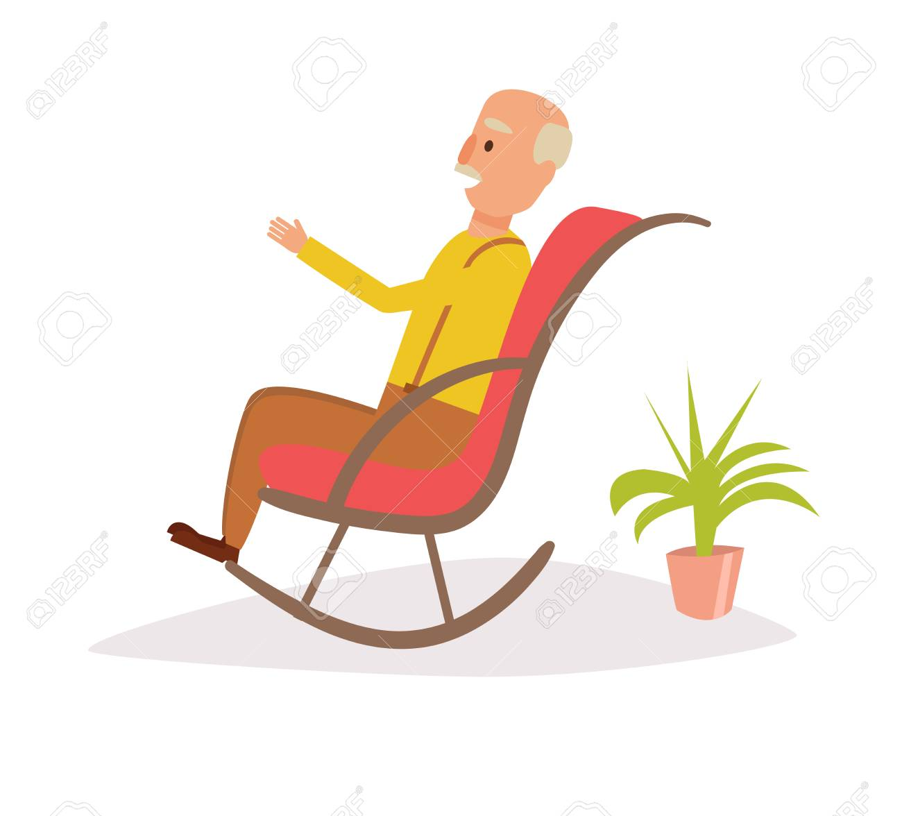 Swell Old Man Rocking In A Rocking Chair Vector Cartoon On Isolated Squirreltailoven Fun Painted Chair Ideas Images Squirreltailovenorg