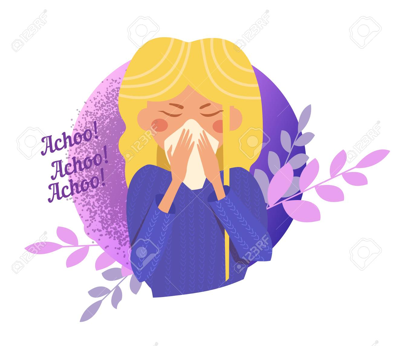 Sneeze, flu, disease, infection, spread Vector  Cartoon  Isolated