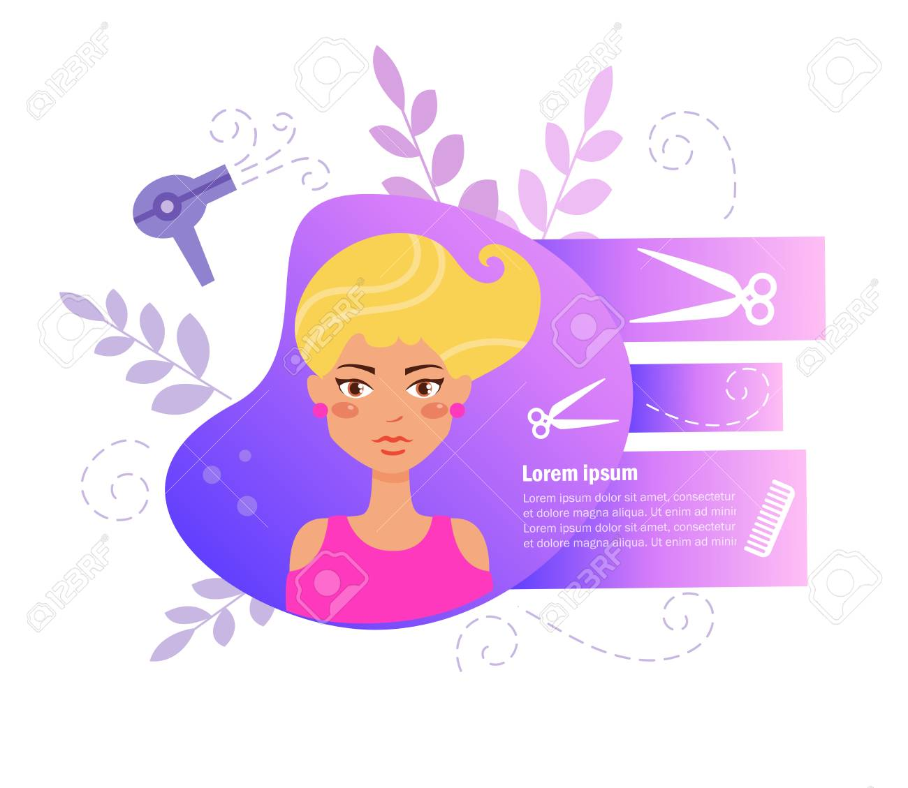 Hair Salon Vector Cartoon Isolated Art On White Background Royalty Free Cliparts Vectors And Stock Illustration Image 125089327