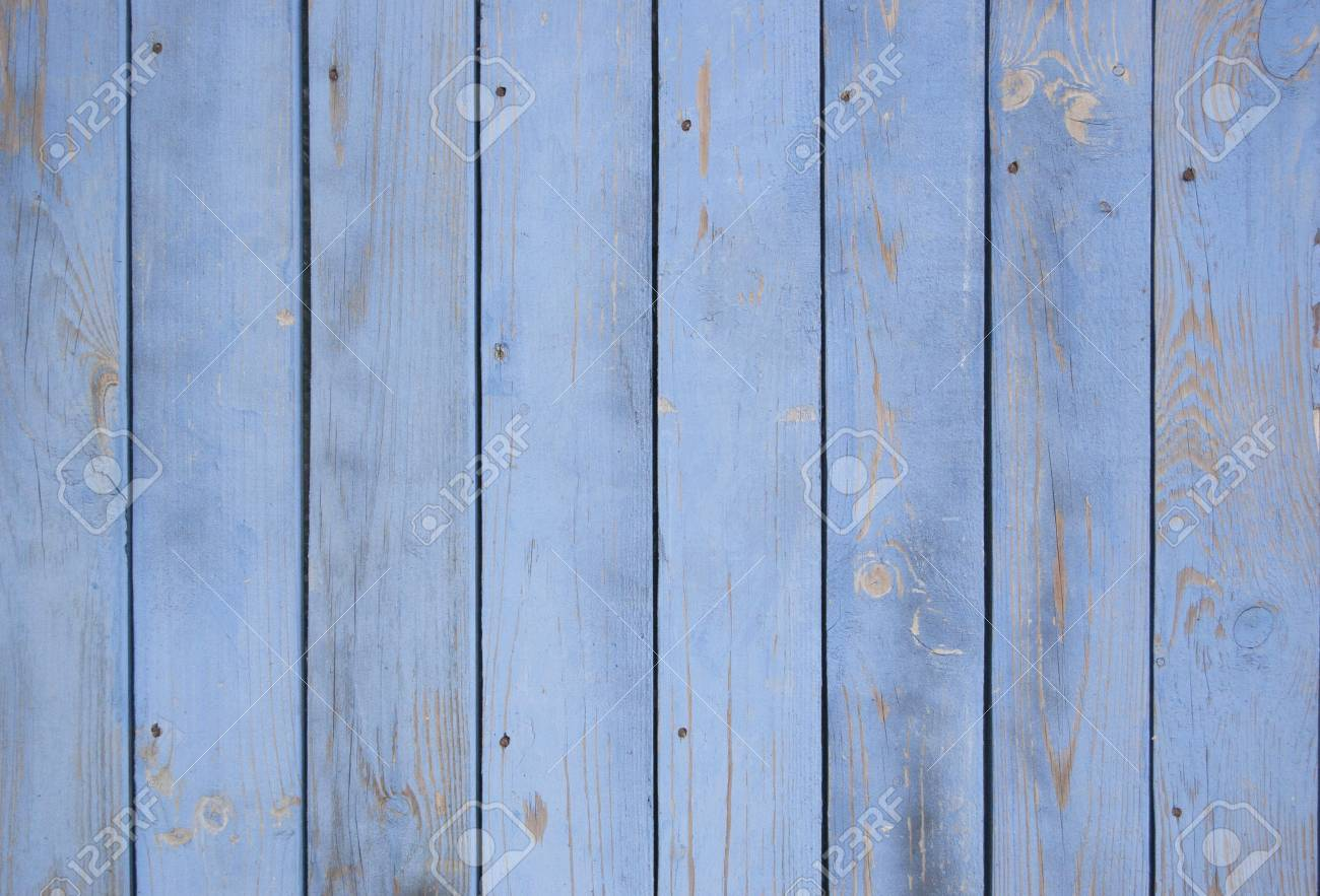 blue old wooden fence. wood palisade background. planks texture - 105753570