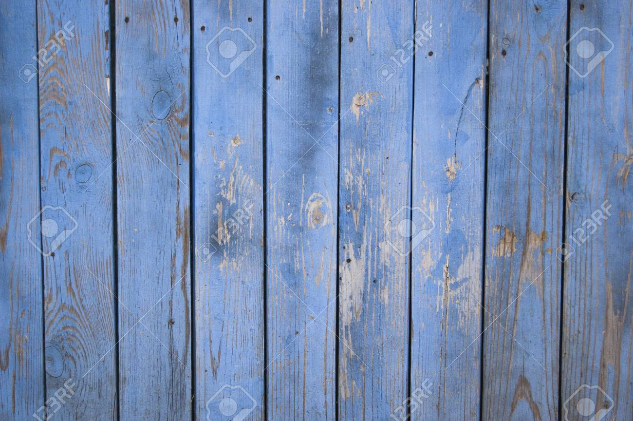 Wood Fence Background. Blue Old Wooden Fence. Wood Palisade Background.  Planks Texture Standard