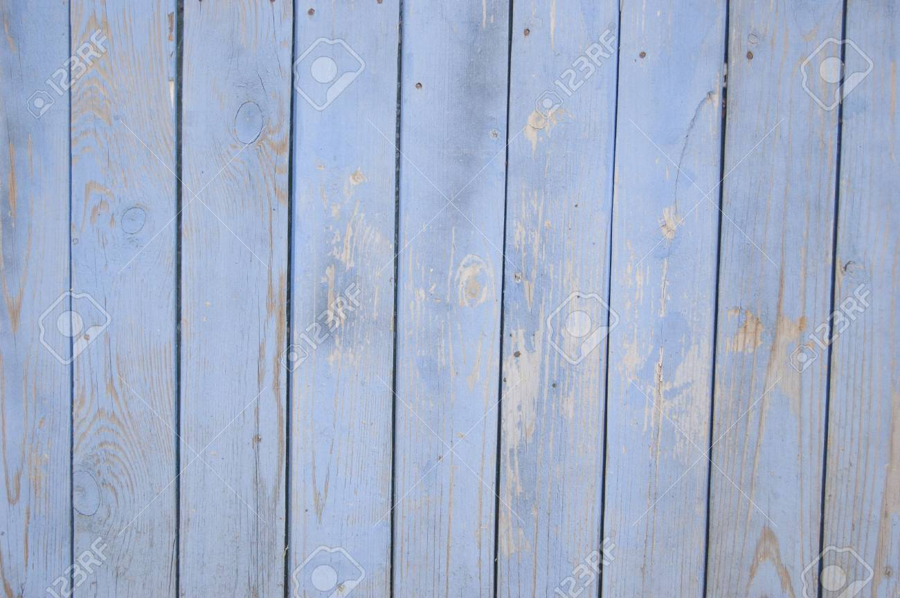 blue old wooden fence. wood palisade background. planks texture - 105753572
