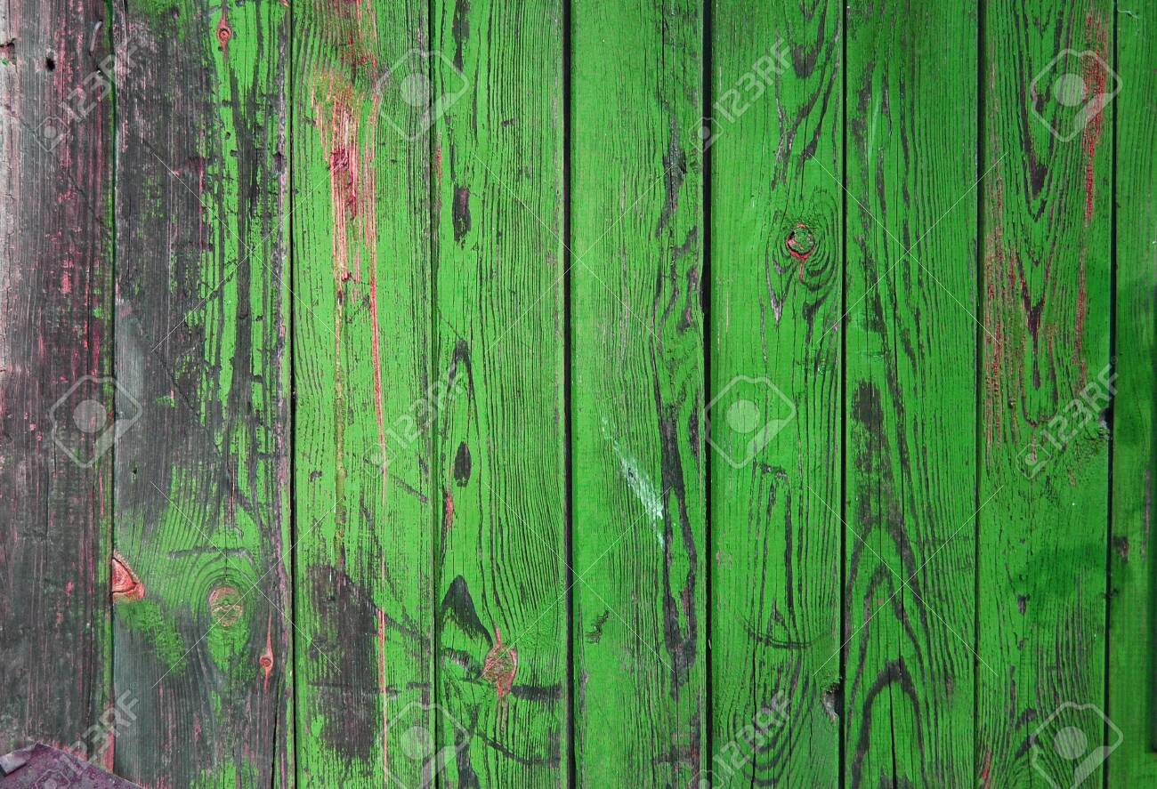 Wood planks, green texture, wooden background, fence, green - 132672666