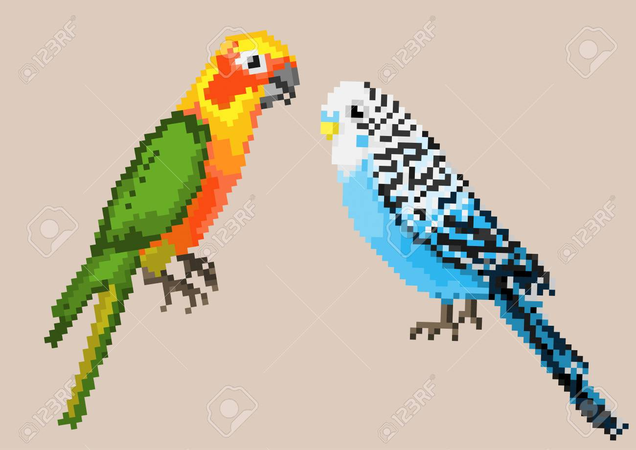 Pixel Parrots Isolated On A Blue Background