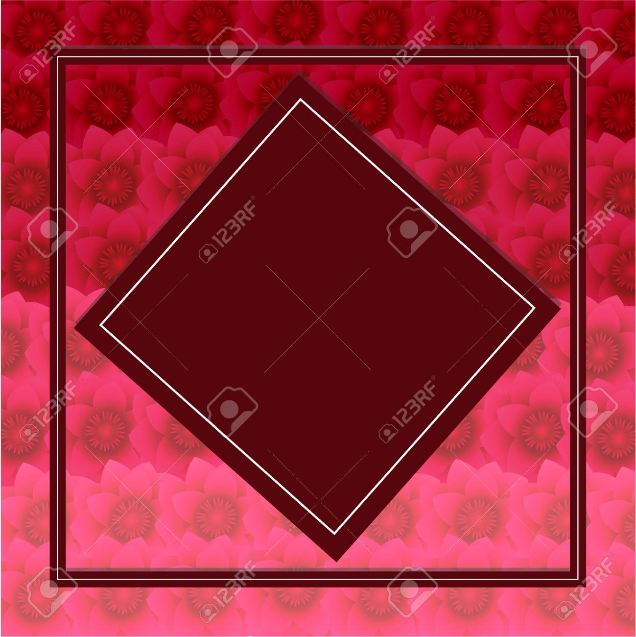 Burgundy Card On A Background Of A Floral Pattern Of Red Hues ...