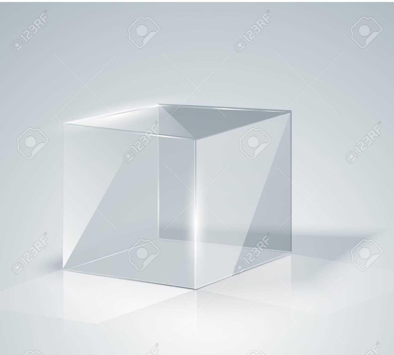 3d Glazen Kubus.Glazen Kubus Transparante Kubus Geisoleerd Sjabloonglas Tentoonstelling Presentatie Van Een Nieuw Product Realistisch 3d Ontwerp Vector