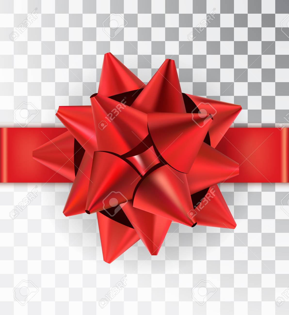 Realistic Bow Red Satin Isolated On A Transparent Background With Ribbon