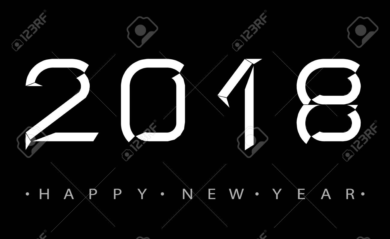 2018 happy new year numbers minimalist style design of greeting card vector illustration