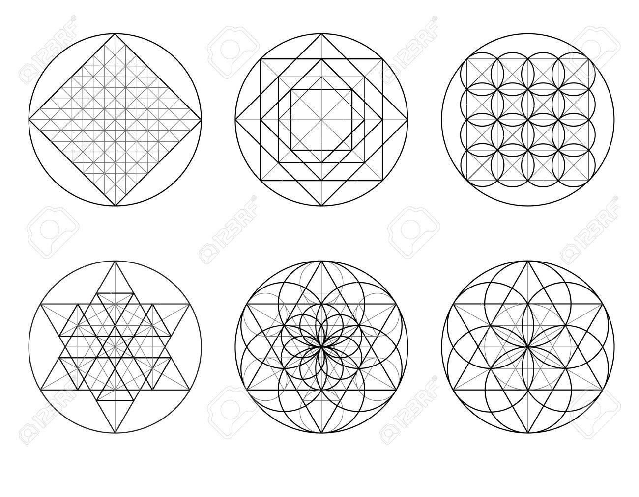 Templates For Building Geometric Ornament Sacred Geometry Crossing Lines Stock Vector