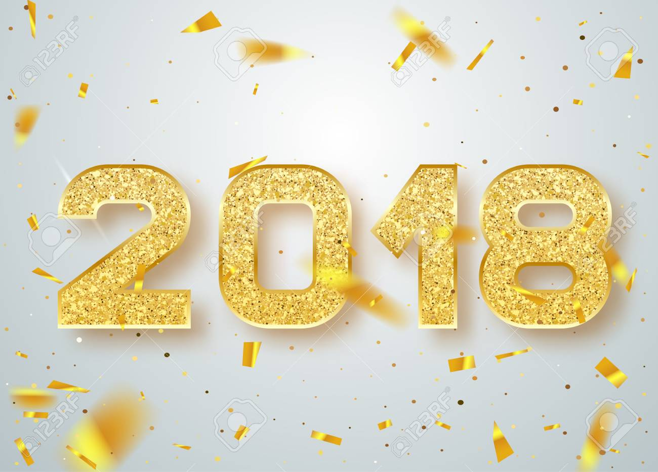 2018 happy new year gold numbers design of greeting card of gold numbers design of greeting card of falling shiny confetti kristyandbryce Choice Image