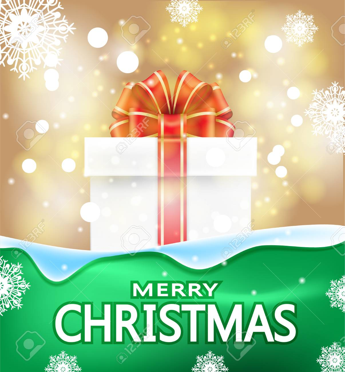 Christmas Background With The Words Merry Christmas. Gift Box ...