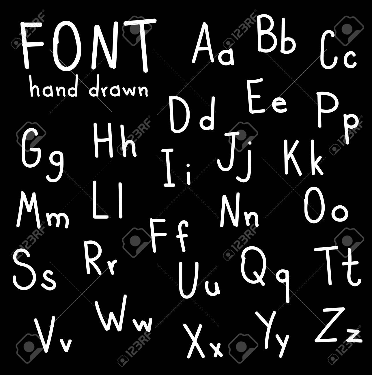 Hand Font Draw Handwritten Alphabet Brush Style Modern Calligraphy Printed Lettering Vector