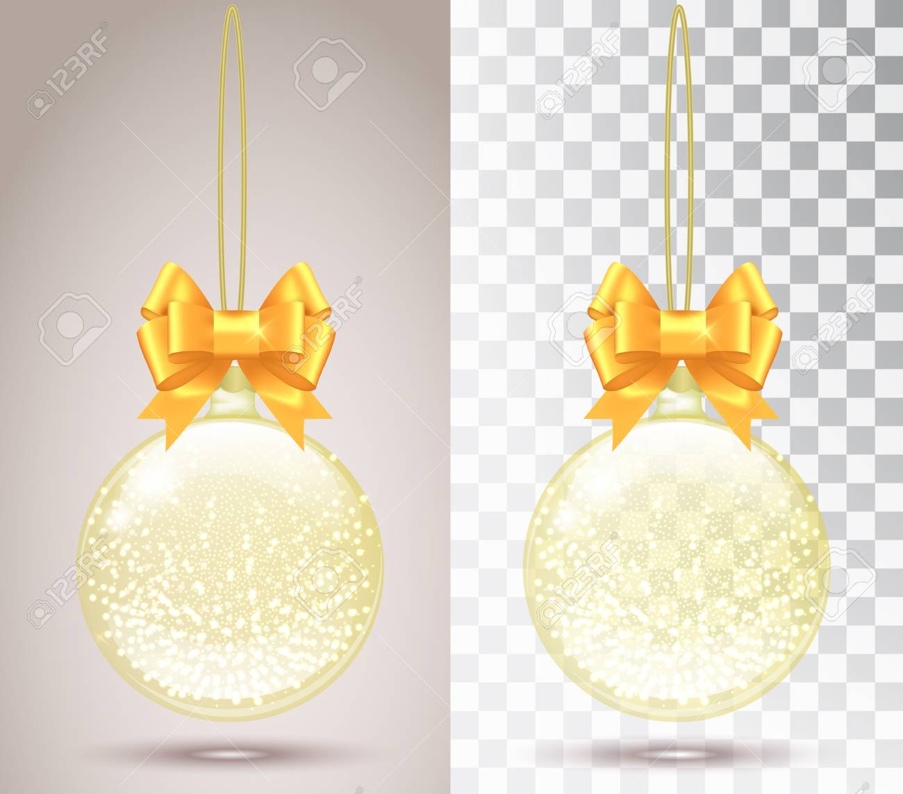 Glass Christmas Toy On A Transparent Background Stocking Decorations Shiny With Golden