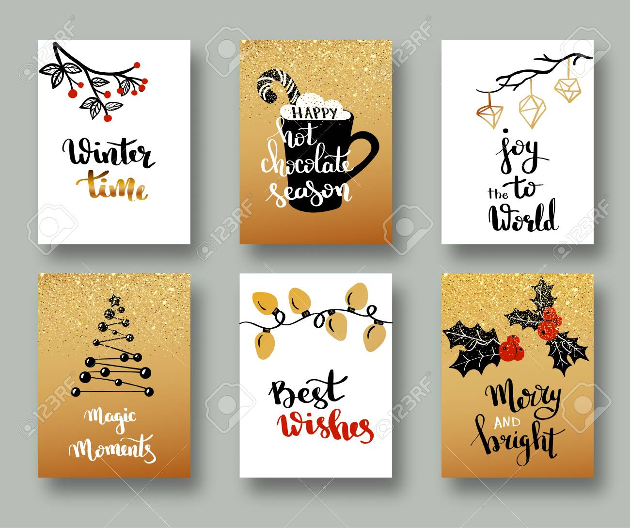 Christmas Cards And Gift Tags With Calligraphy. Hand Drawn Design ...