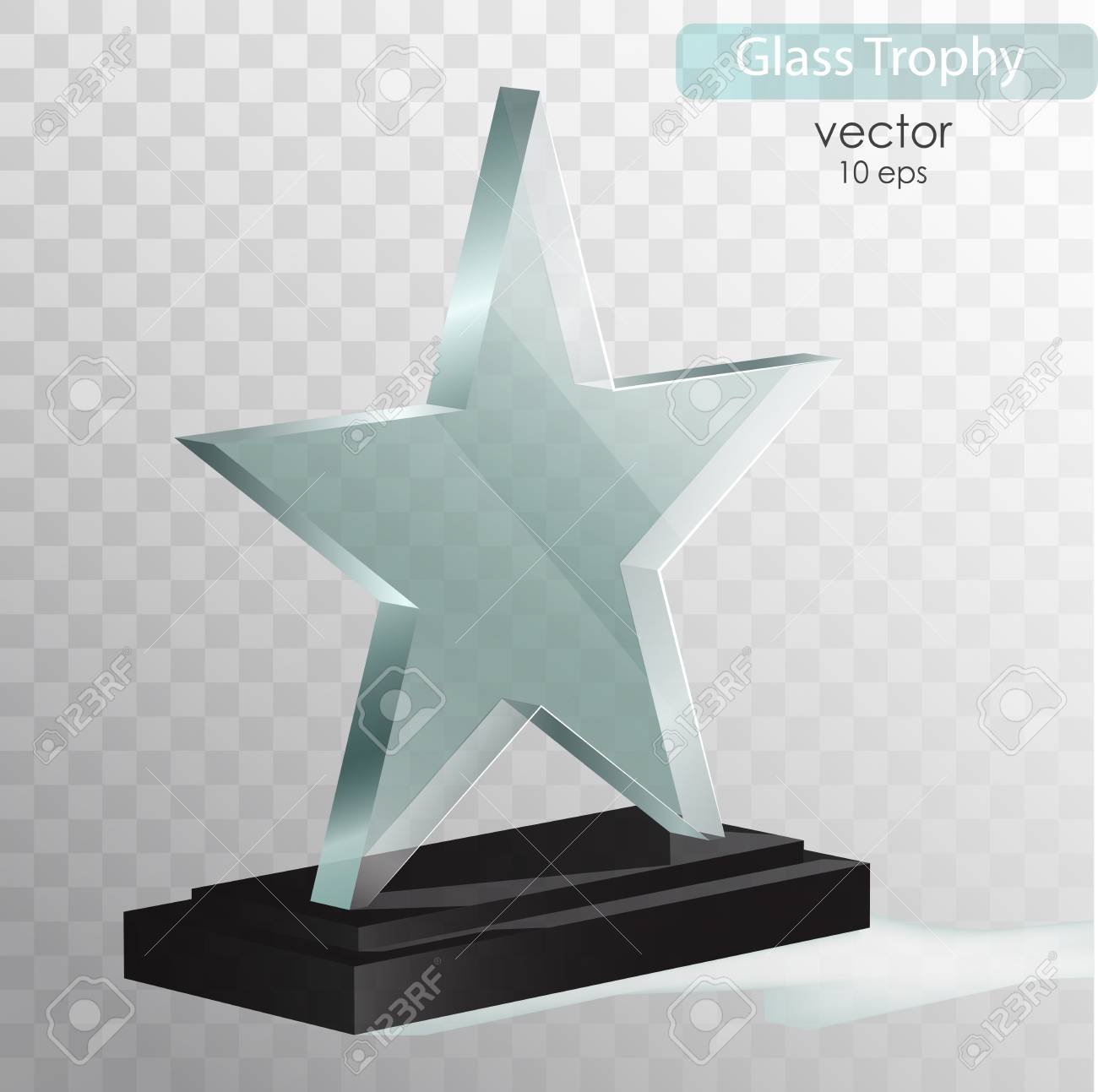 Glass Trophy Award Vector Illustration Isolated On Transparent Background Realistic 3D Design