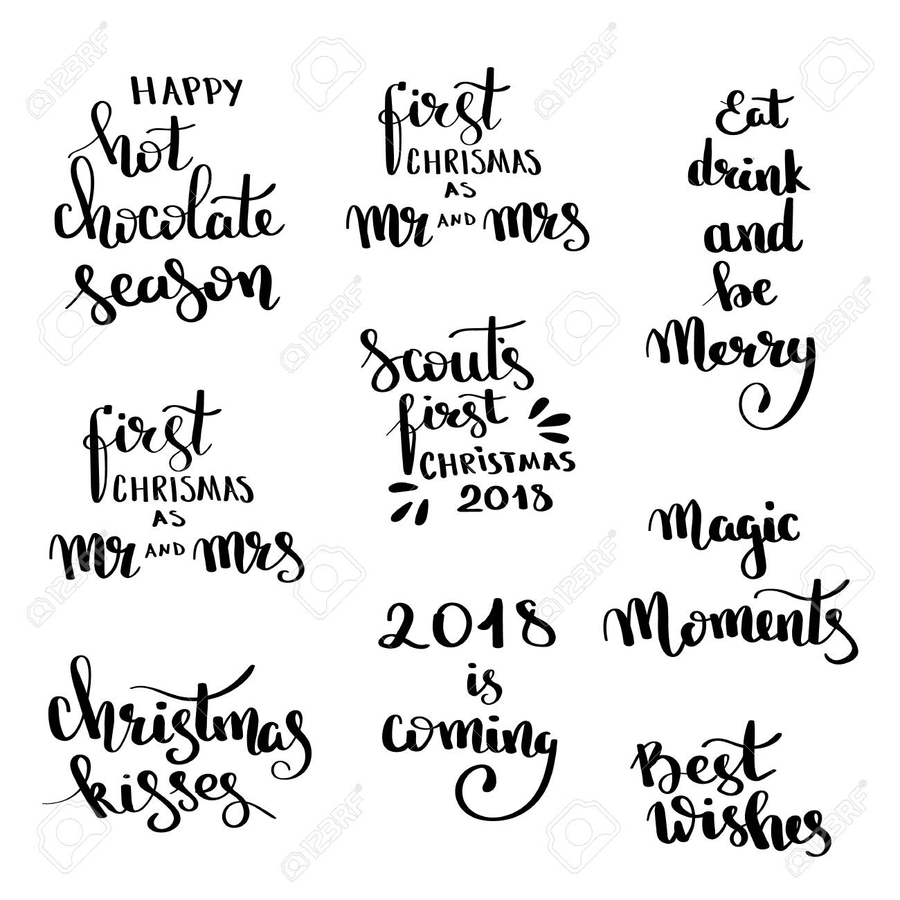 Christmas Hand Drawn Lettering Design Set Handwritten Quotes And Wishes Modern Calligraphy