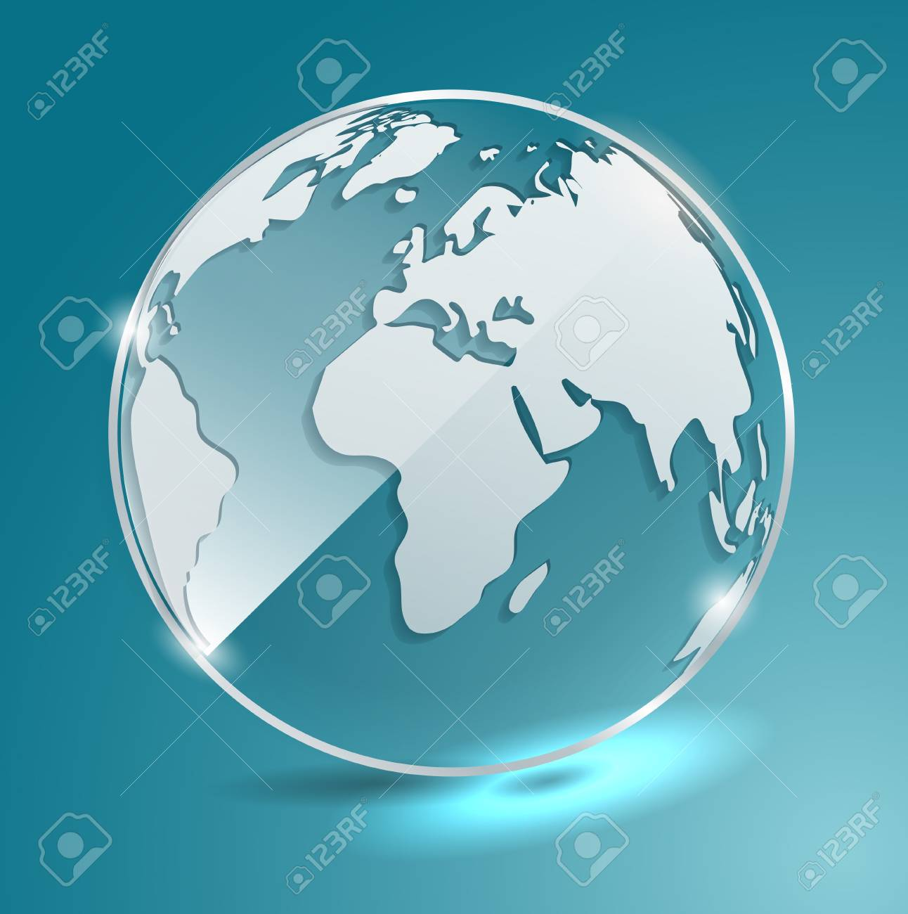 Geographic Map Of Earth.Glass Ball With World Map Earth Geographic Map Globe Vector