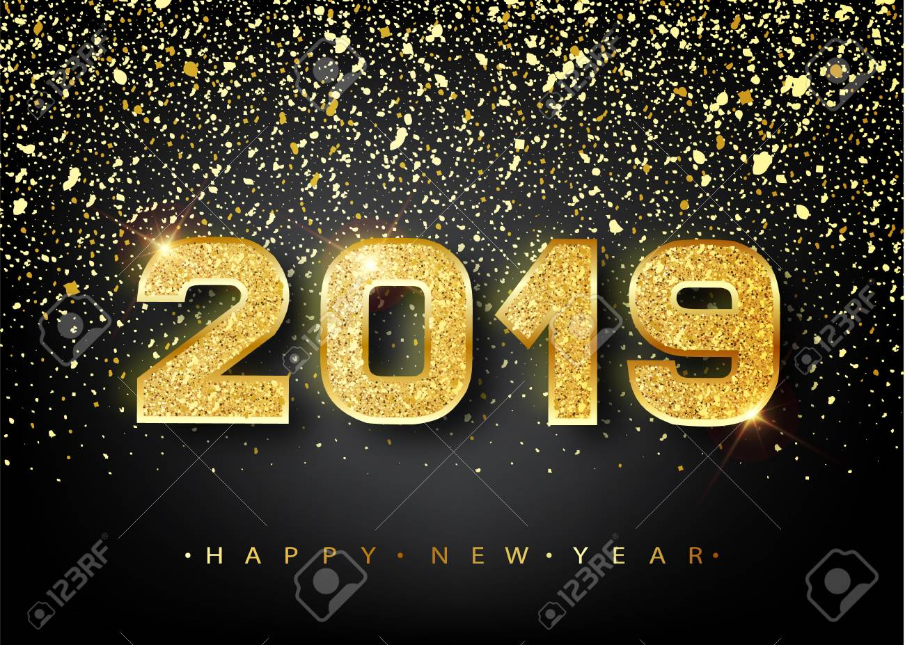 2019 happy new year gold numbers design of greeting card gold shining pattern