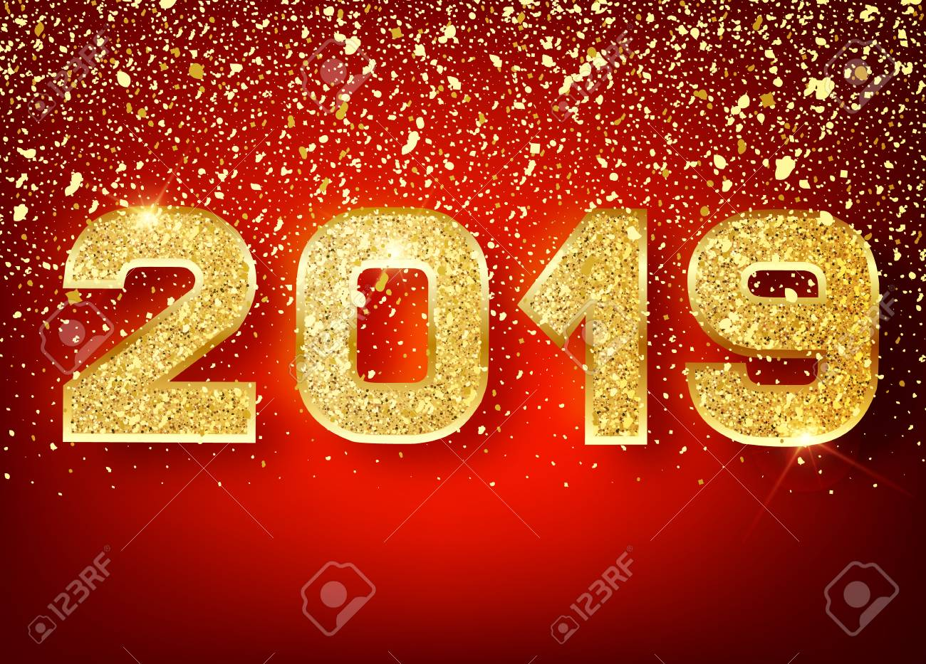 2019 happy new year gold numbers design of greeting card of falling shiny confetti