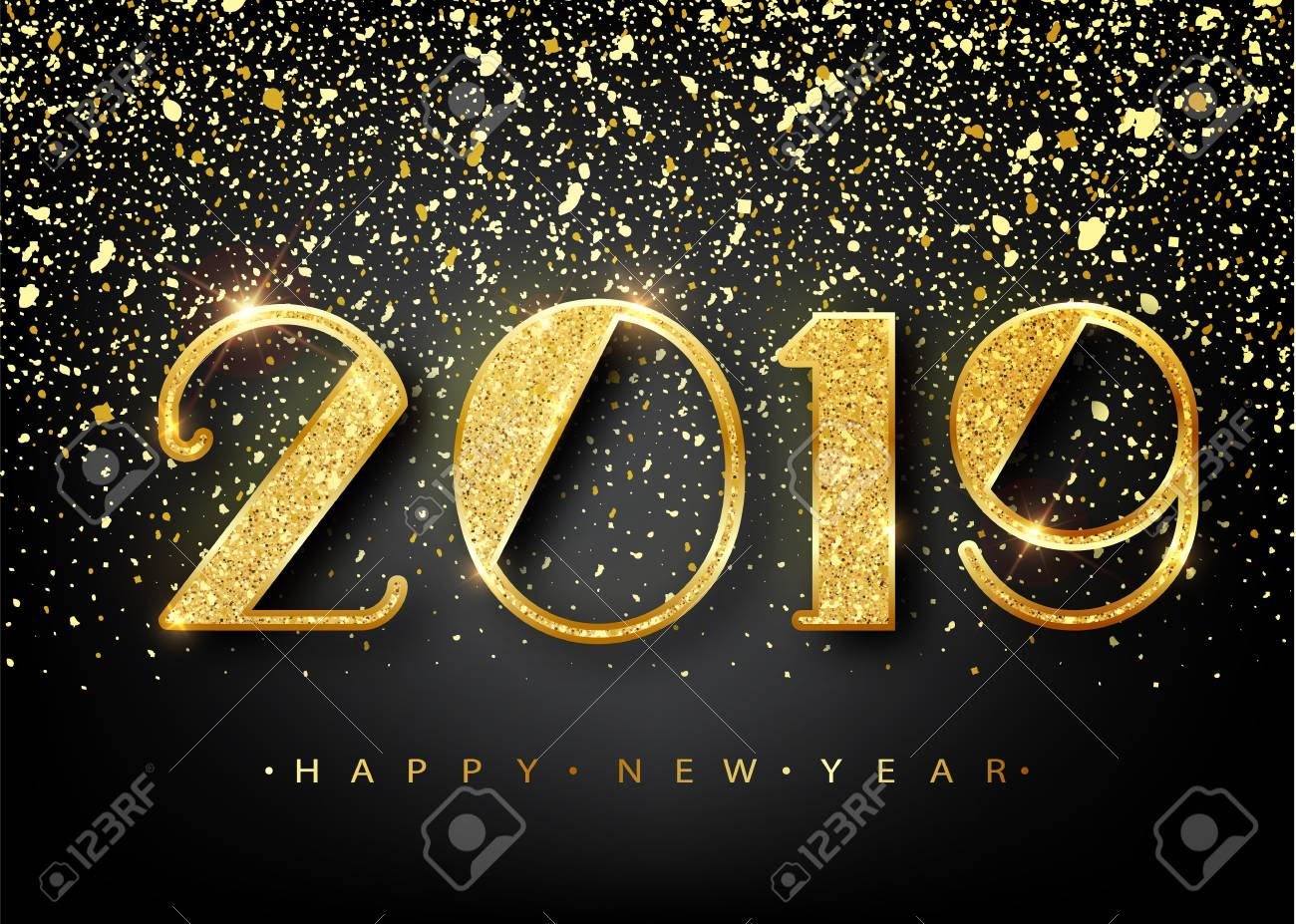 2019 Happy new year. Gold Numbers Design of greeting card. Gold Shining Pattern. Happy New Year Banner with 2019 Numbers on Bright Background. Vector illustration. - 98120019