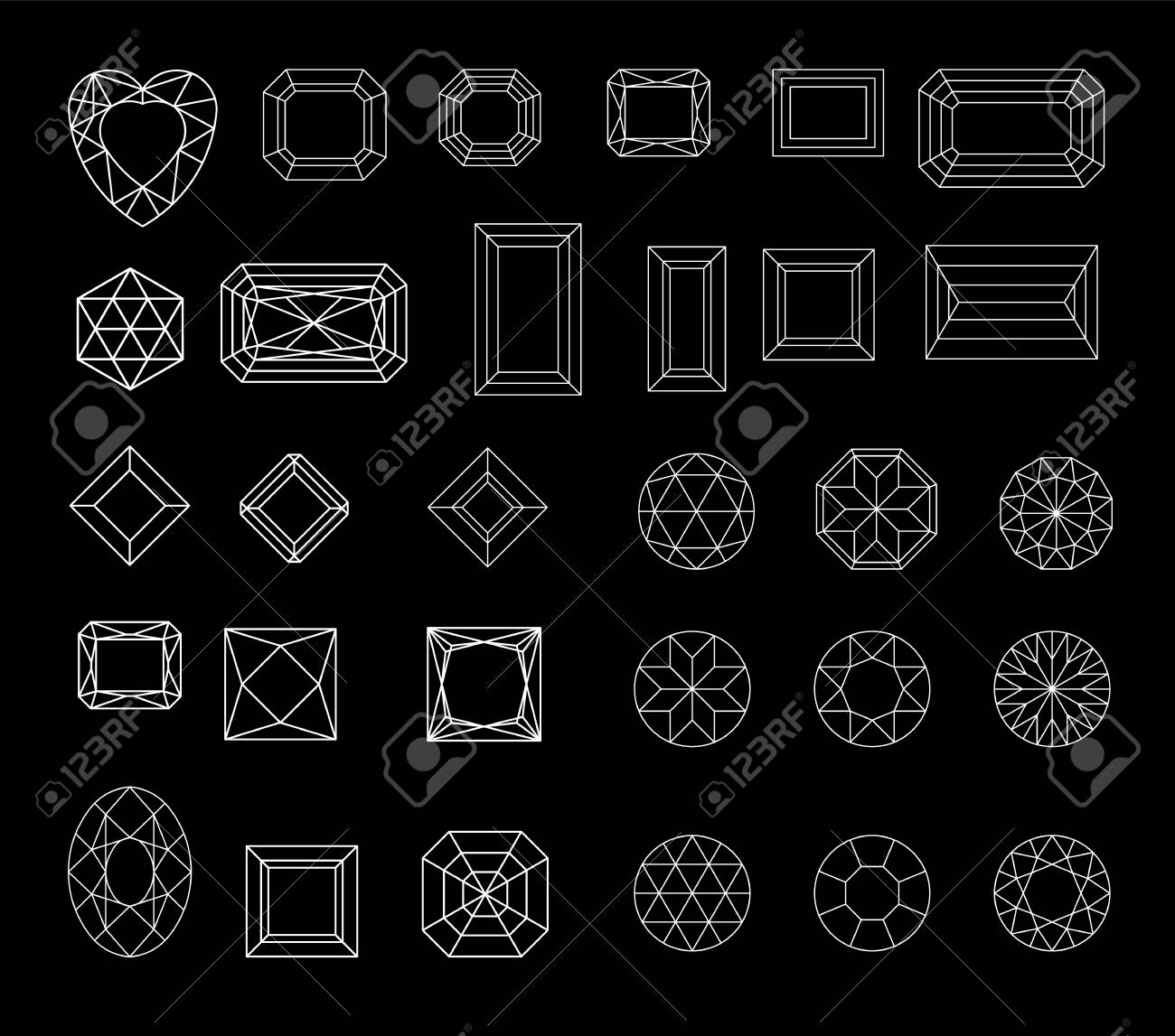 Collection shapes of diamond against black background - 106207932
