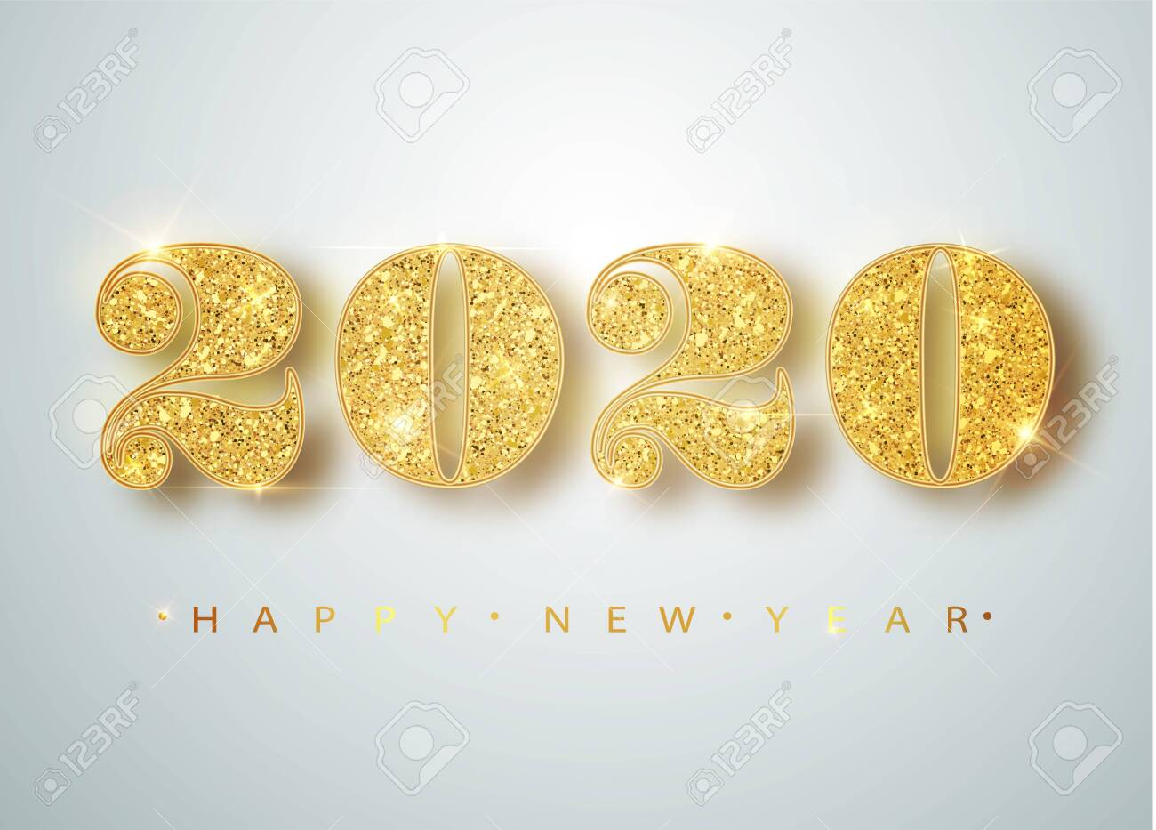 Happy New 2020 Year. Holiday vector illustration of golden metallic numbers 2020. Realistic sign. Festive poster or banner design - 122515108