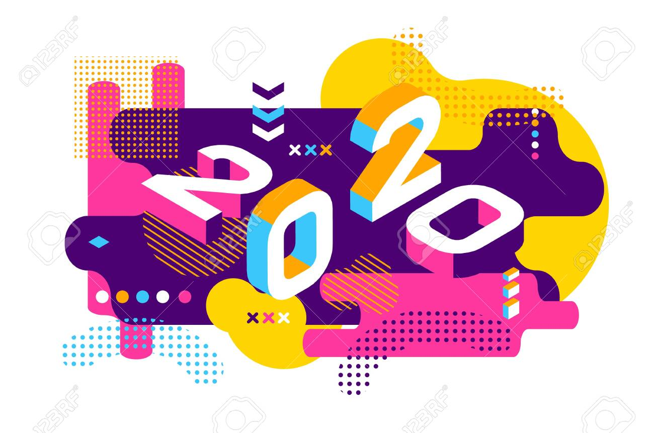 2020 Colored Memphis style. Banner with 2020 Numbers. Vector New Year illustration. - 122770467