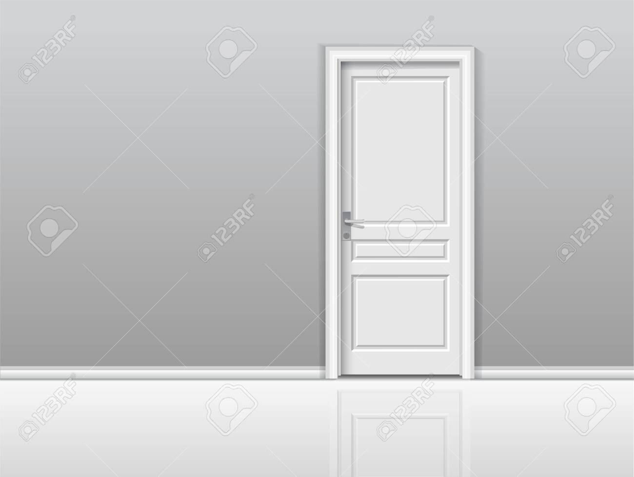 Closed white door in a white room. Chromatic image. Vector background - 136137488