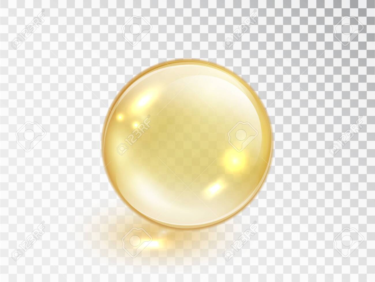 Gold oil bubble isolated on transparent background. Vector realistic yellow serum droplet of drug or collagen essence. Vitamin translucent pill. - 150117794
