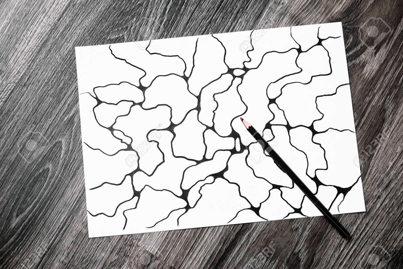 Abstract imaginary picture of curves by black pencil. A psychological art therapy tests. Identification of the unconscious, subconscious, the depths of the human brain. Art therapy treatment. Result. - 164642479