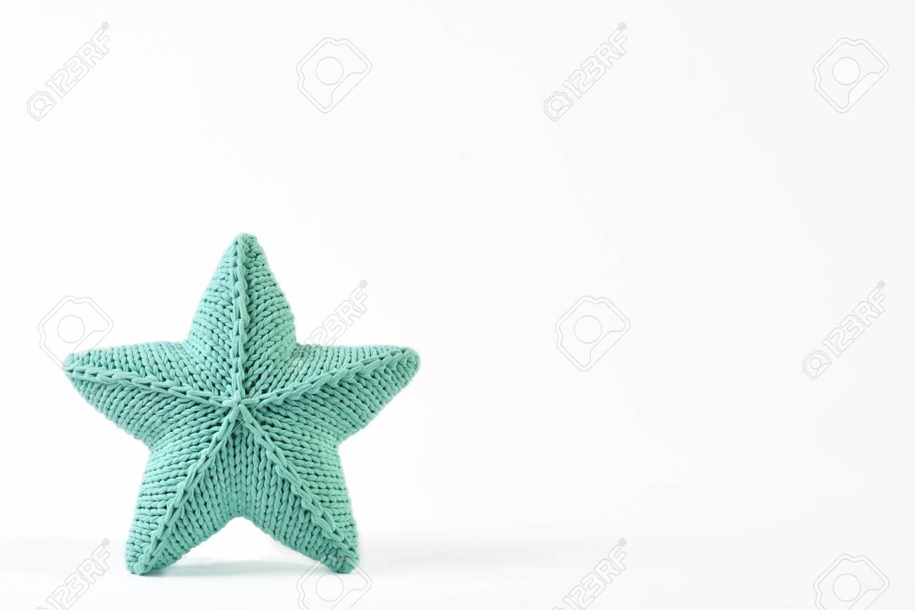 Blue-green Knitted Five-pointed Star Shaped Pillow On White ...