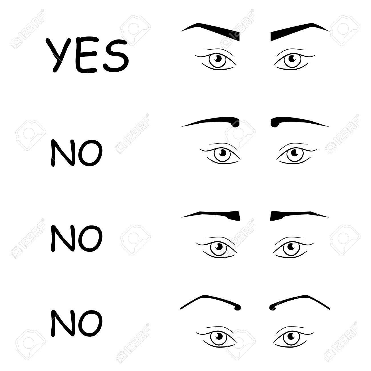 right and wrong eyebrows shapes female eyes and eyebrows vector