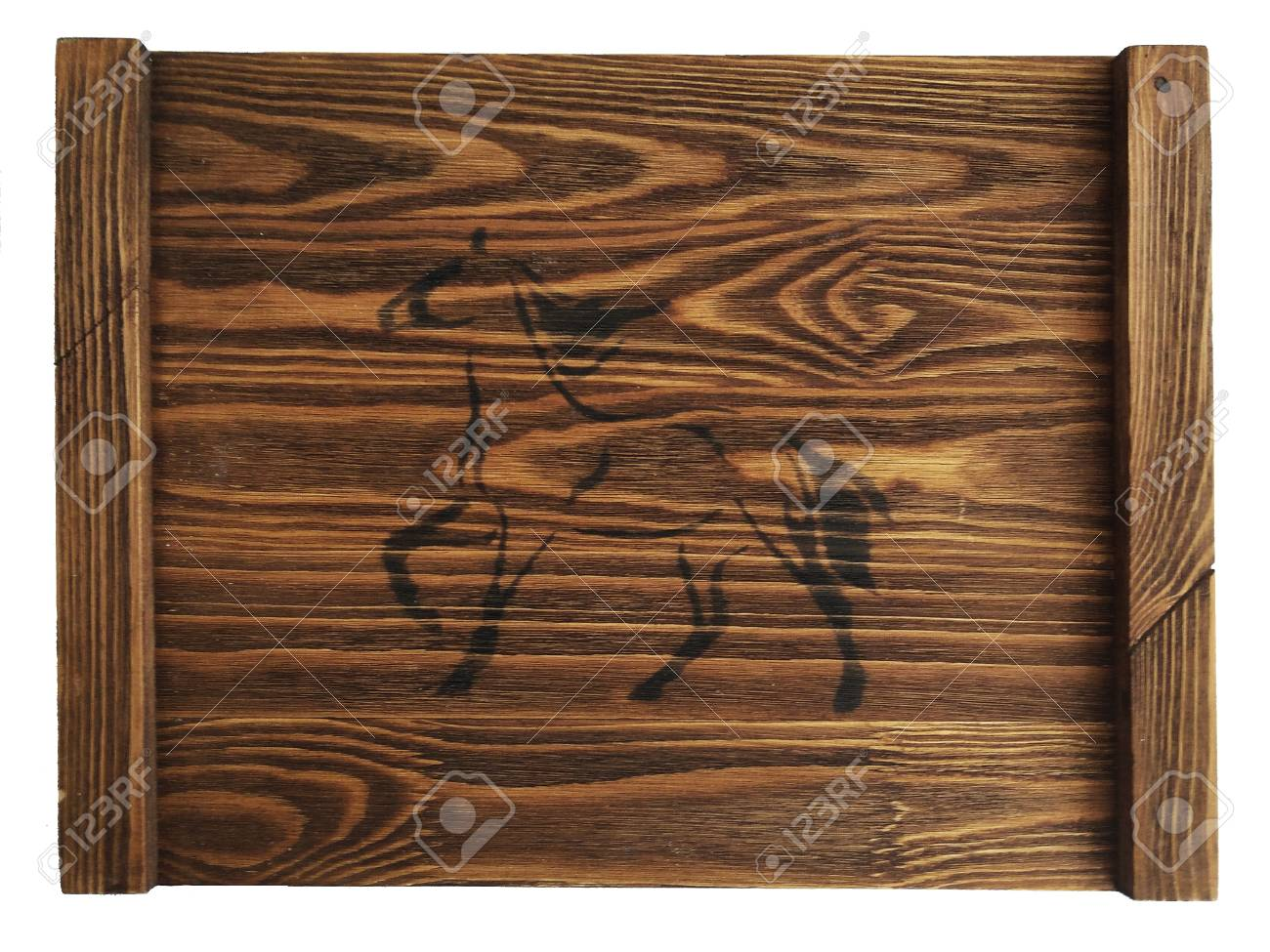 Rustic vintage wooden tray with a horse on isolated white background. Stock  Photo - 87700377