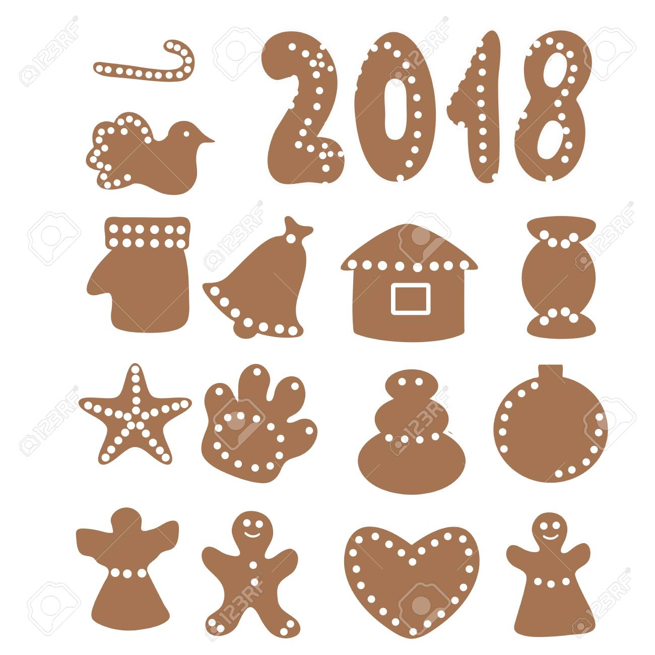 Vector Set Of Cartoon Gingerbread Christmas Cookies Isolated