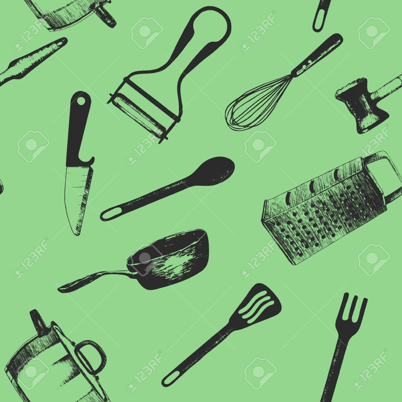 Cooking utensils and kitchen tools seamless background doodle..