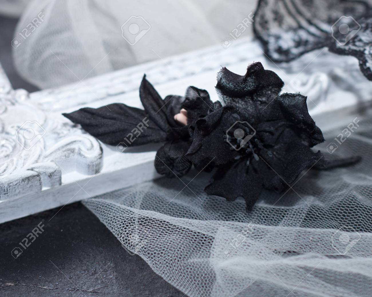 Black Silk Flower Brooch On White Beautiful Background Woman