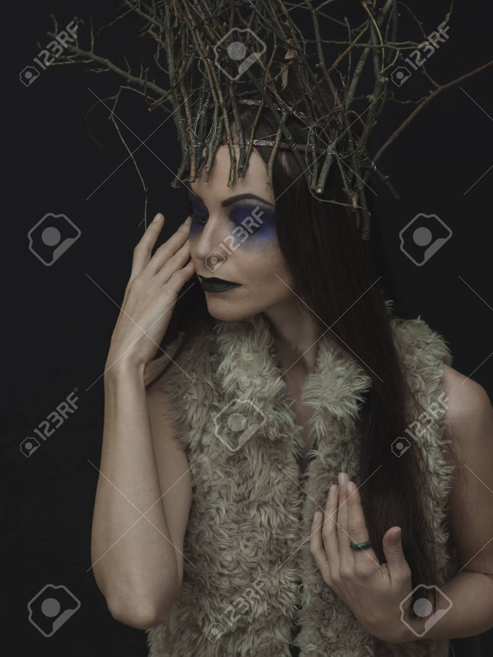 25dc363d08b Creative woman forest fairy portrait with branch crown. A beautiful..