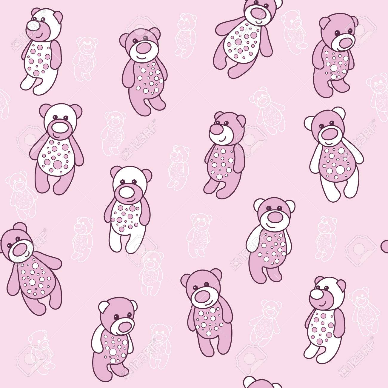 seamless background with teddy bears in pink template for the