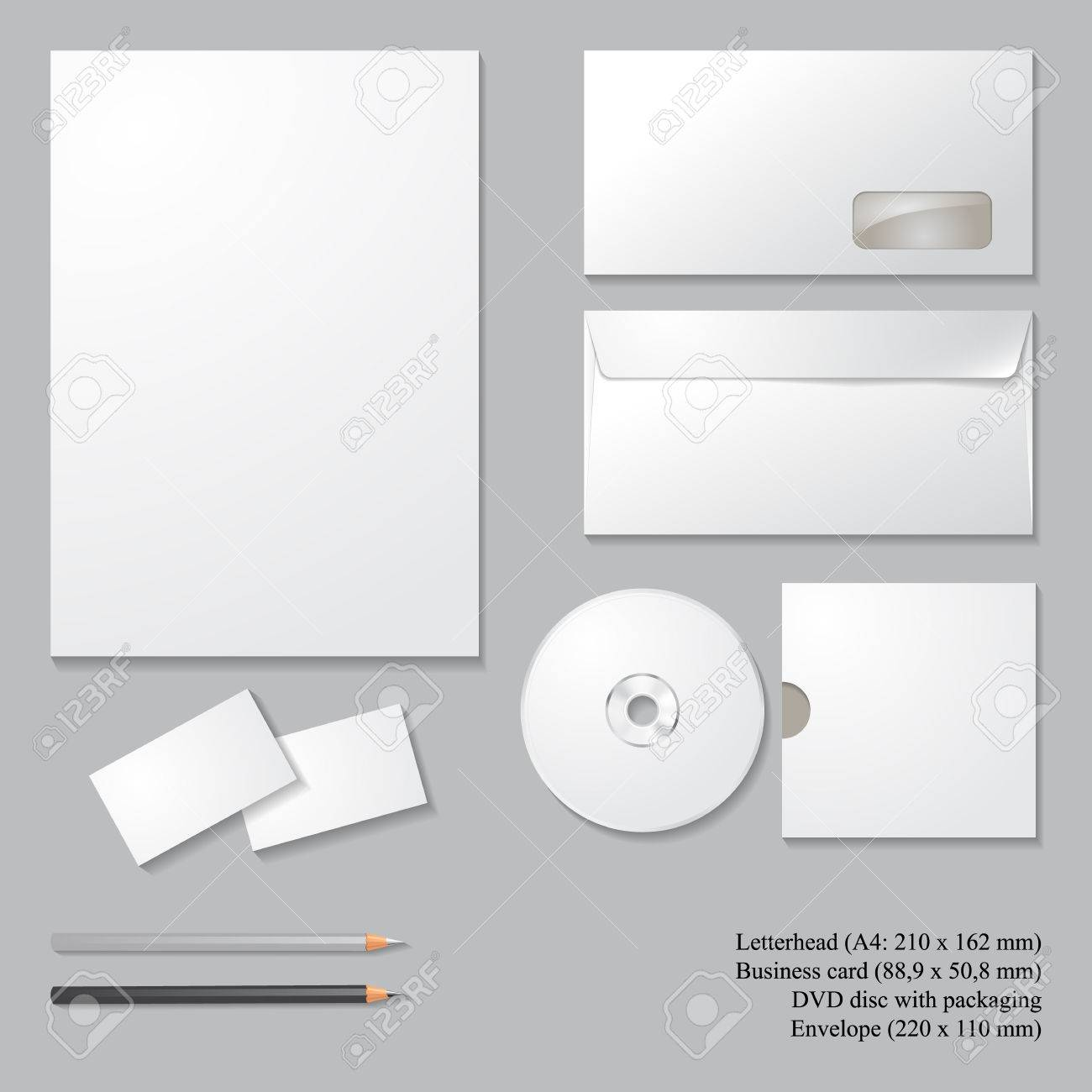 Vector corporate identity templates with shadows isolated on vector corporate identity templates with shadows isolated on gray background letterhead envelope spiritdancerdesigns Images