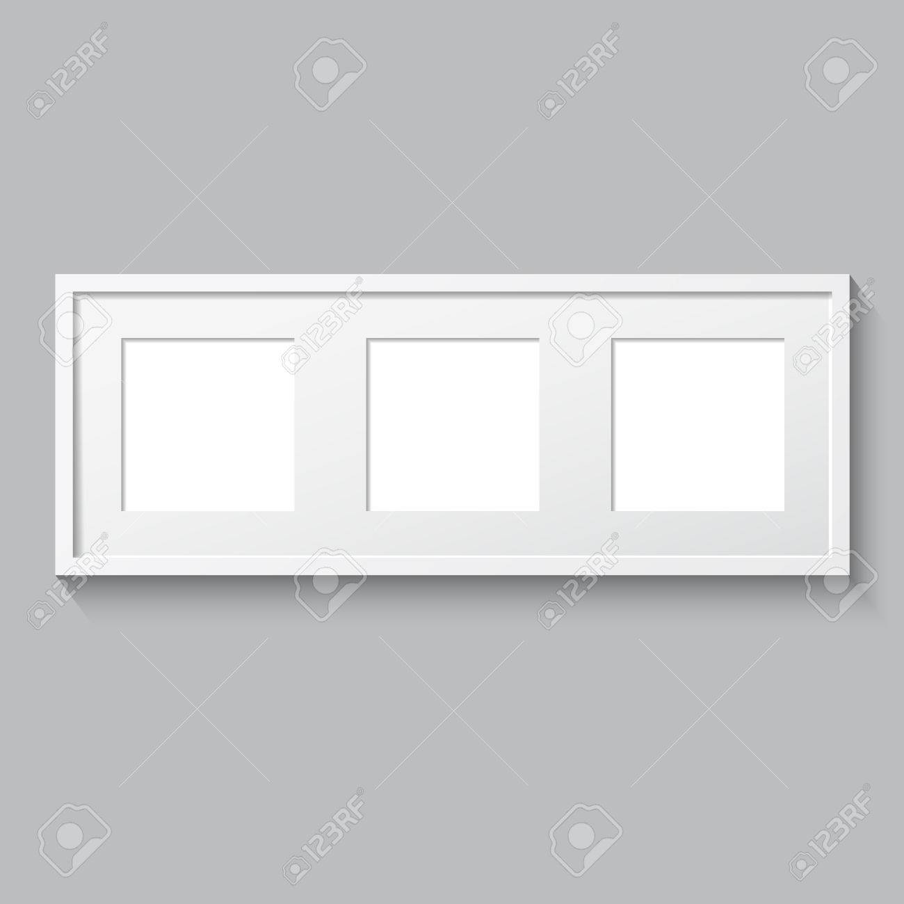 3d picture frame design vector for image or text realistic template