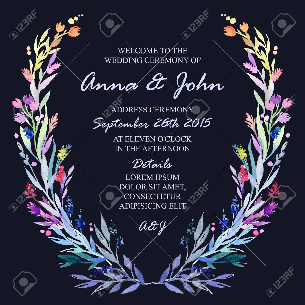 Wedding invitation design template with watercolor floral frame vector wedding invitation design template with watercolor floral frame vector background for special occasions life events stopboris Choice Image