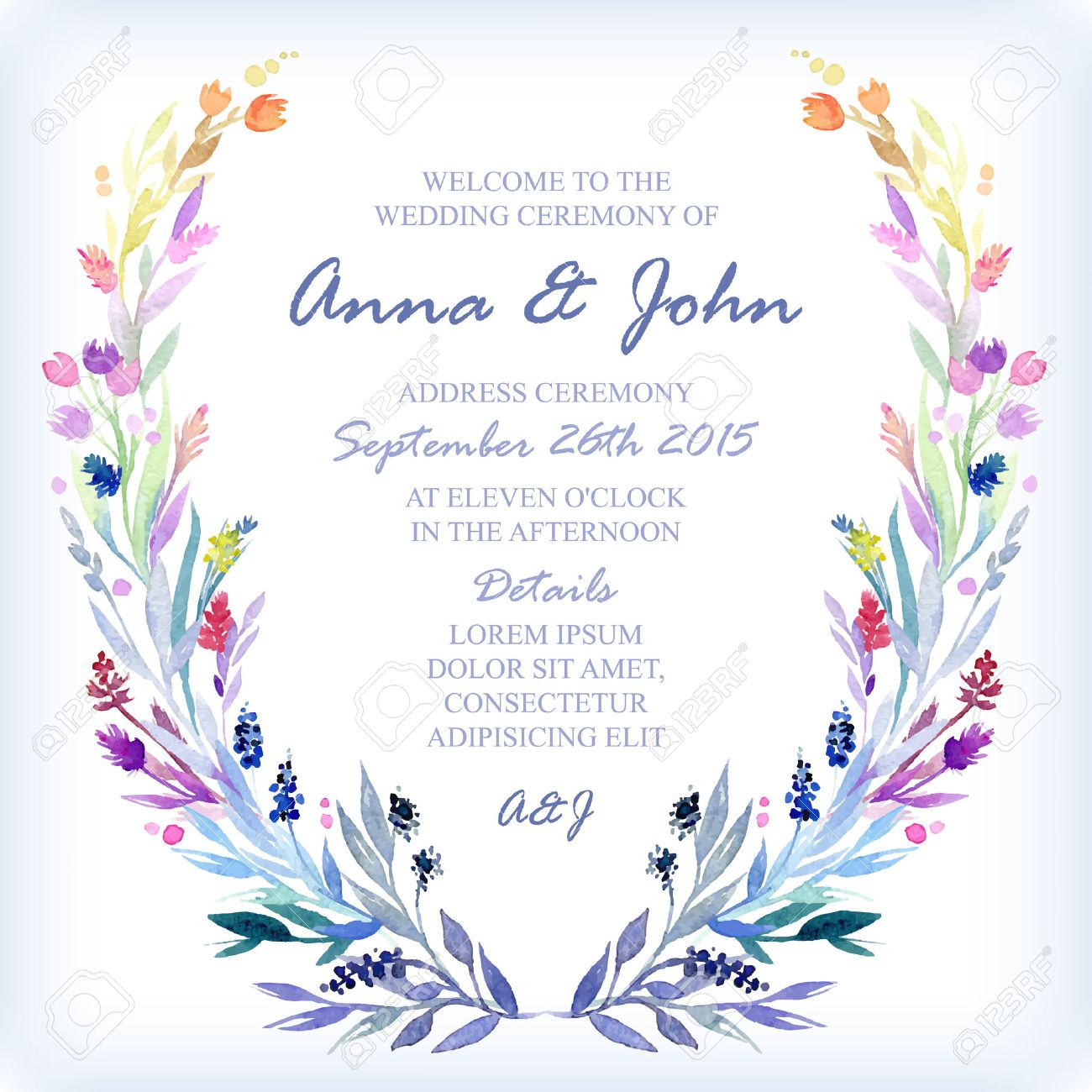 Wedding Invitation Design Template With Watercolor Floral Frame. Vector  Background For Special Occasions U0026 Life