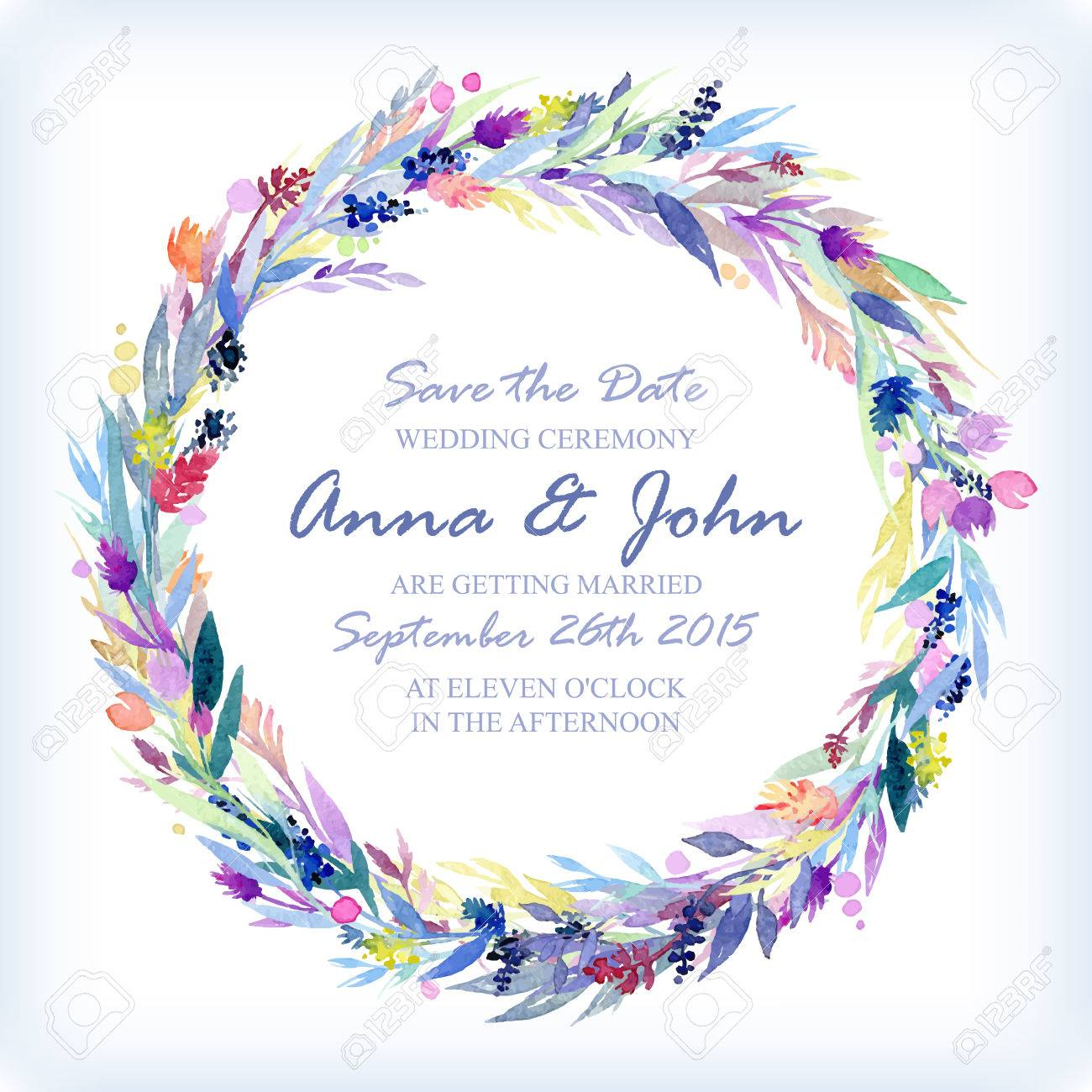 Wedding Invitation Design Template With Watercolor Floral Circular ...
