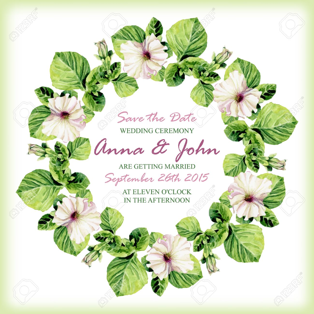 Wedding invitation design template with watercolor floral circular vector wedding invitation design template with watercolor floral circular frame vector background for special occasions life events save the date stopboris Choice Image