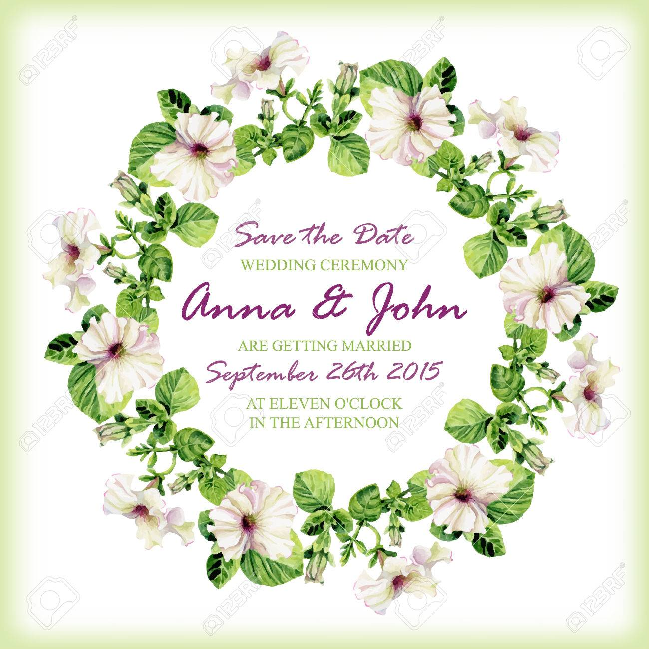 vector wedding invitation design template with watercolor floral circular frame vector background for special occasions u0026 life events save the date